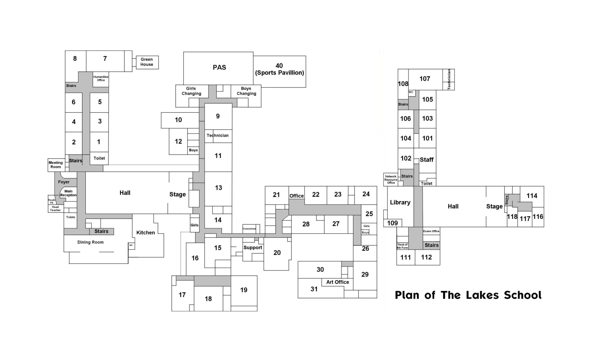 Plan of The Lakes School